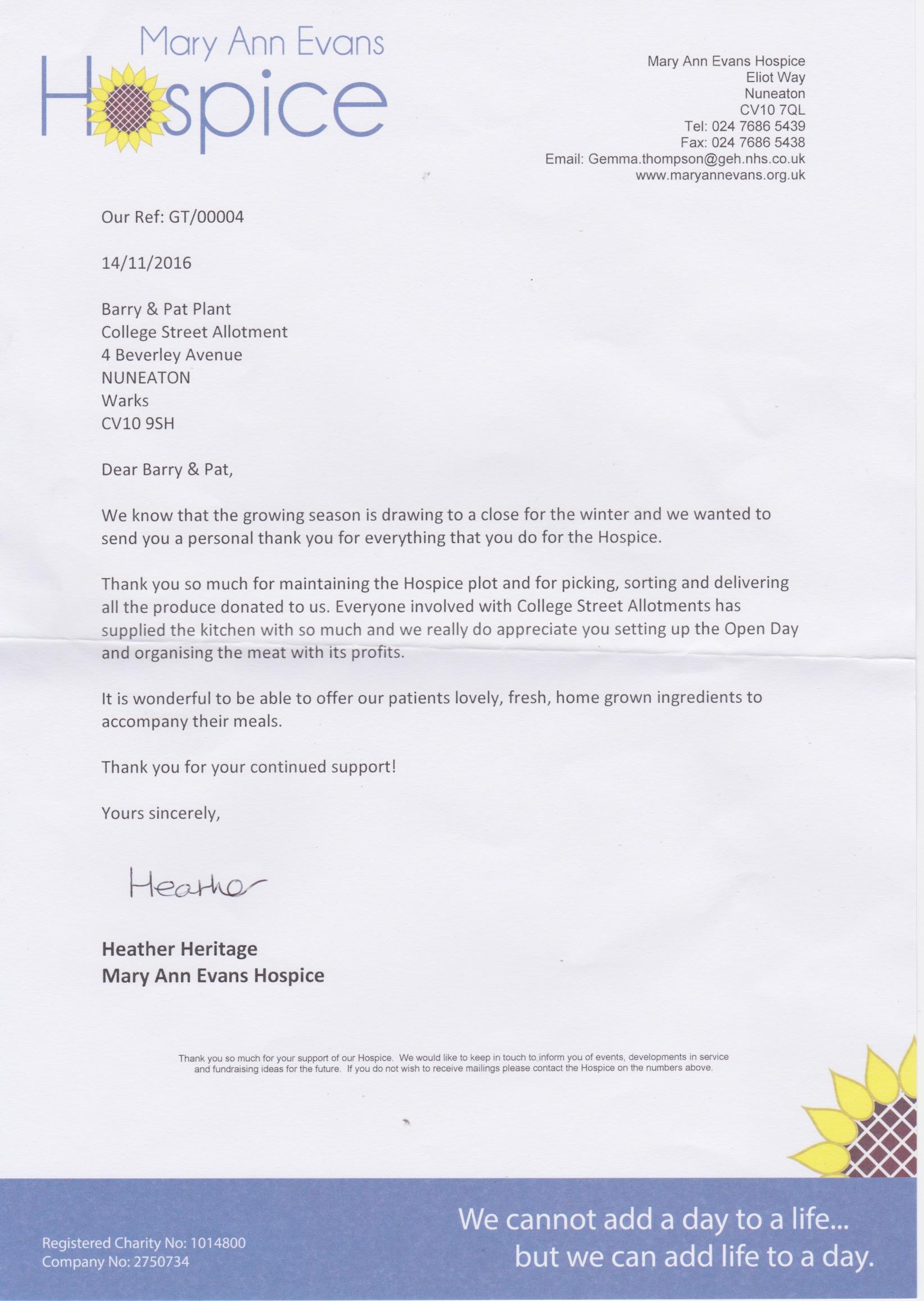 thankyou college street nuneaton federation of allotment college st hospice thankyou letter